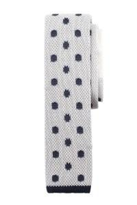 A knit tie with a navy pattern by S+D.