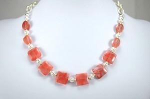 Photo cherry quartz necklace.