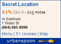 Secret Location on Urbanspoon
