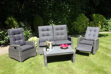 Reclining Rattan 4 Seater Lounge Set