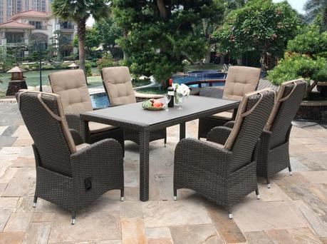 Reclining 6 Seater Rattan Dining Set
