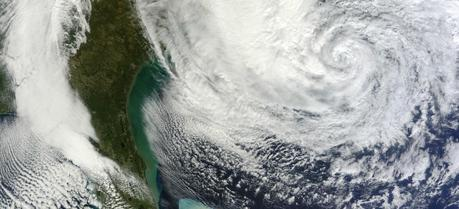 New research shows that an offshore wind farm could have weakened Hurricane Sandy, shown here on Oct. 28, 2012