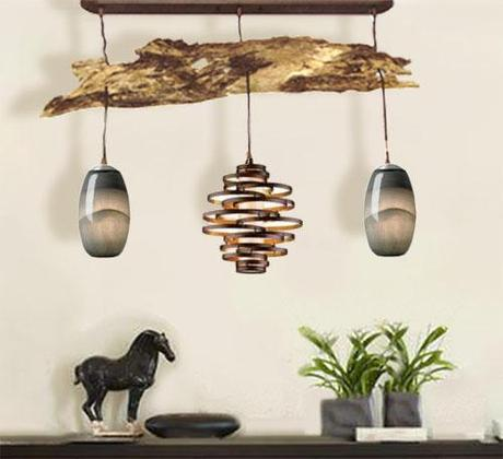 Driftwood Pendant Light serves as both lighting and a piece of art.