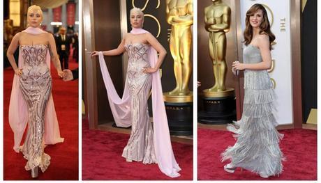 Lady Gaga and Jennifer Garner silver shoes fashion trend at Oscars 2014
