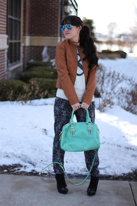 Outfit  Print Pants   Sequin Ampersand Knit - Paperblog 5e2fb9c13