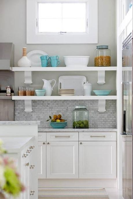 white kitchen cabinets with gray countertops (go darker than these) and light gray walls w/grey mix backsplash