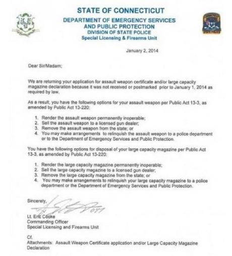 CT gun confiscation letter