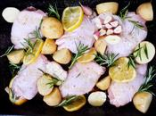 Rosemary, Lemon Garlic Roast Chicken Thighs with Baby Roasties