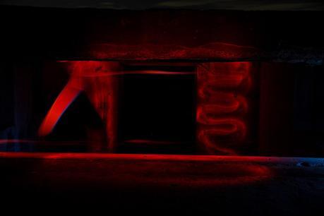 red light inside old bunker