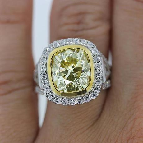 Cushion Cut Fancy Yellow engagement ring
