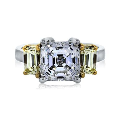 Asscher cut diamond engagement ring with yellow accent diamonds