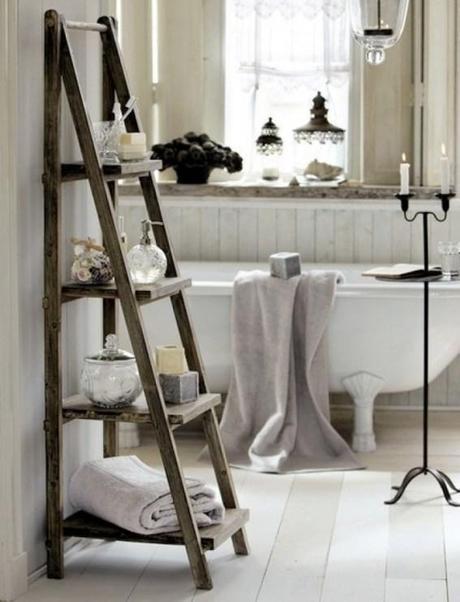 bathroom storage ladder
