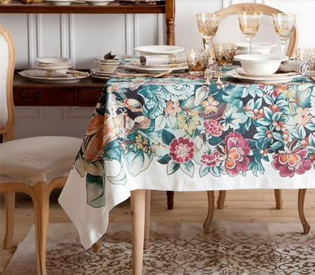 Zara Home 2014 Tablecloth with floral motif
