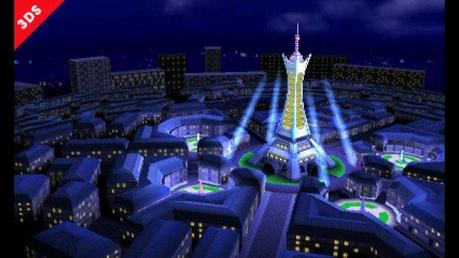The Prism Tower rises above Lumiose City. Up until a few seconds ago, the fighters were brawling on top of that tower. No, really.