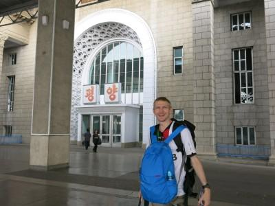 Saying farewell to Pyongyang from the main train station.