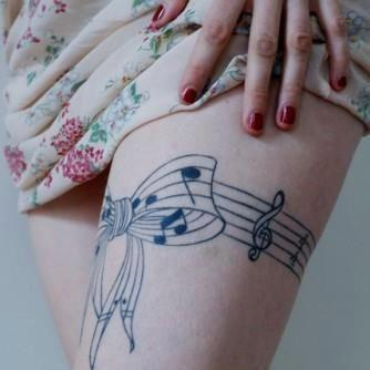 Sexy Music Notes tattoo design on thighs