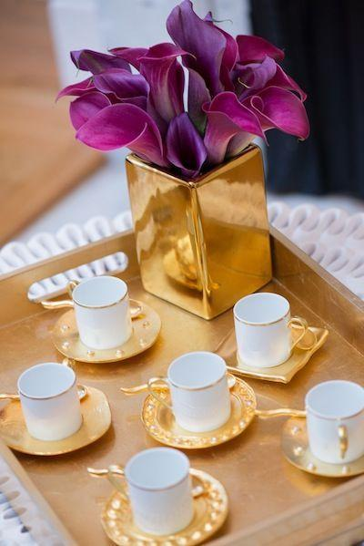 glamorous gold plated china @Simone Design Blog