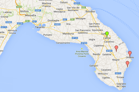 Map of towns in Apulia