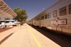 Ghan getting ready to pull out of Alice Springs