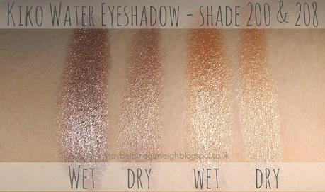 Kiko Water Eyeshadow In Shades 200 & 208 - Review & Swatches