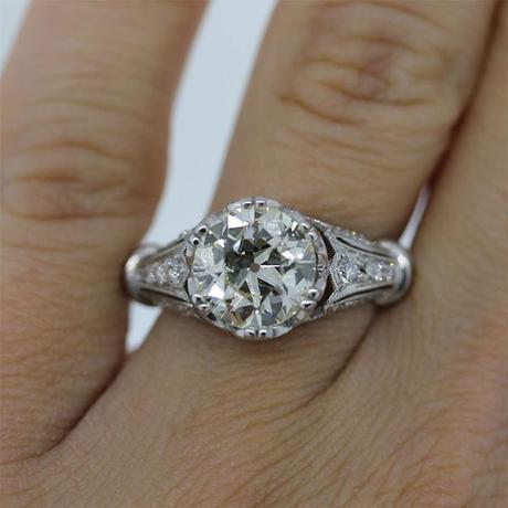 2.45ct Old European Cut Diamond Engagement Ring