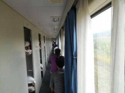 Corridor on the train from North Korea to China