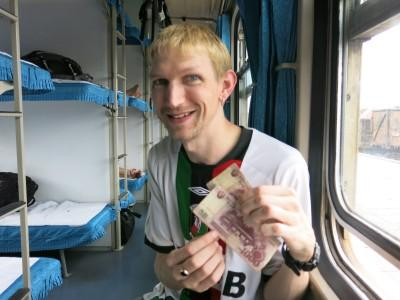 north korean cash on train