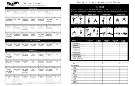 Insanity Workout Schedule PDF & Calendar - Paperblog