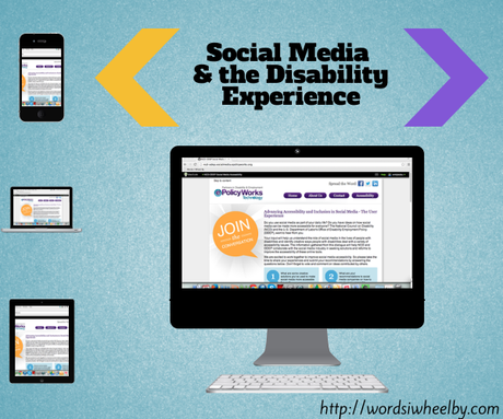 Light blue background with images of technology including an iPhone, a laptop, and an iPad, with a larger iMac to the right of them. Each device has a screenshot of the ePolicyworks webpage for the social media and accessibility dialog. Above the iMac is black text that reads