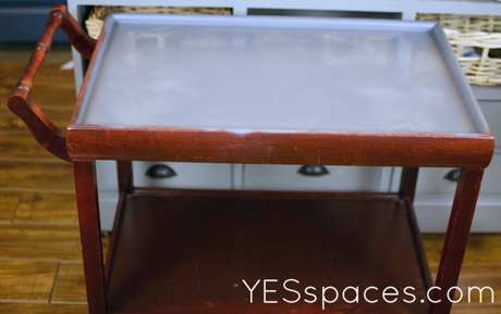 tea tray before 700x440 Dont pay $1,200, Upcycle a Gold Bar Cart for Under $52