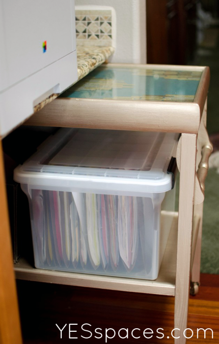 YES spaces tray as office storage 446x700 Dont pay $1,200, Upcycle a Gold Bar Cart for Under $52