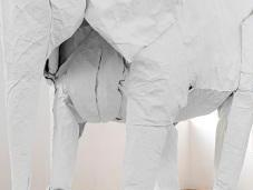 Artist Sipho Mabona's Life-sized Origami Elephant from Single Sheet Paper