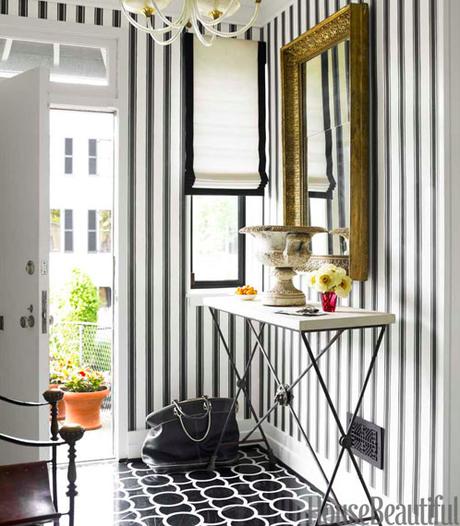 black and white striped wallpaper
