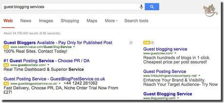 google still accepts guest blogging services ads
