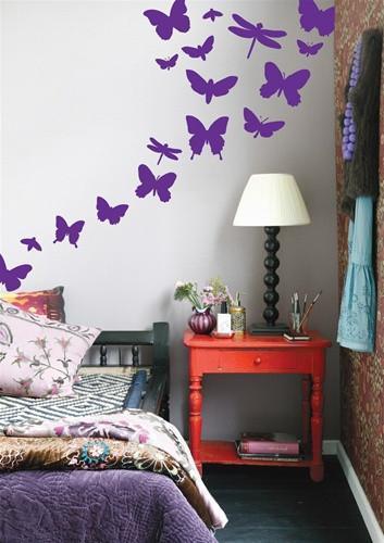 Butterflies Wallsticker in Violet design by Ferm Living