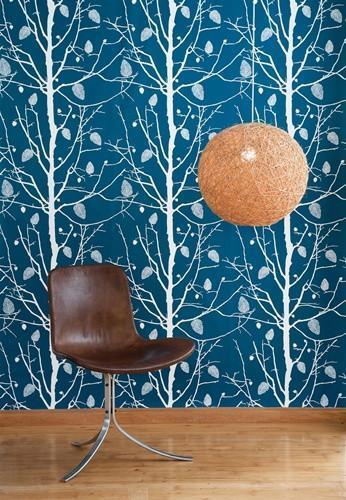 Family Tree Wallpaper in Petrol design by Ferm Living