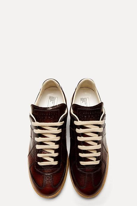 Blessed Burgundy:  Maison Martin Margiela Maroon Leather Dégradé Replica Sneakers