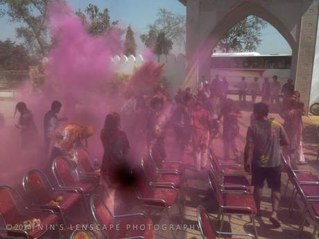 When the color powder being thrown to you....