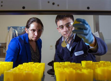 Pamela Peralta-Yahya, an assistant professor in the School of Chemistry and Biochemistry and the School of Chemical and Biomolecular Engineering, and Stephen Sarria, a graduate student in the School of Chemistry and Biochemistry
