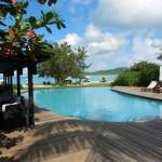Guyanan heartwood decking surrounds pool at Hermitage Bay in Antigua