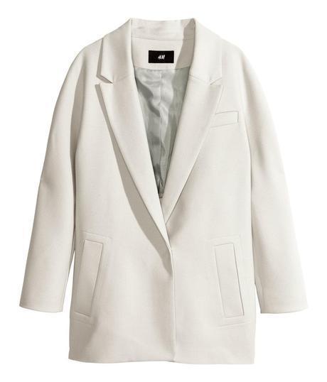H&M Single Breasted Coat Ivory
