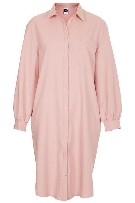 WhitePepper Pastel Pale Pink Oversized Shirt Dress