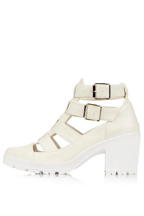 Topshop MEGA White Cut Out Boots