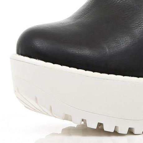 Black two-tone Cleated Sole Platform Boots