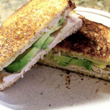 ... sandwich. Grilled cheddar, turkey, and avocado sandwich: it's worth