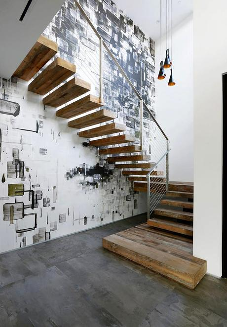Staircase wall and fixtures Artful Display of Lines and Japanese Influences: Project 355 Mansfield in California