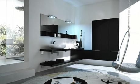 Black and white Modern Bath