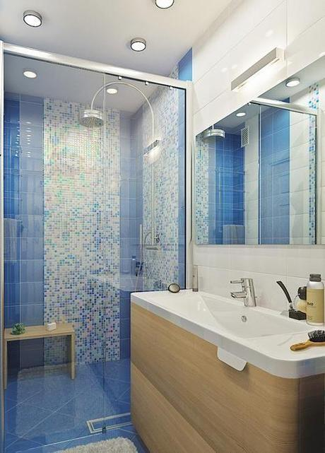 Blue Mosaic Shower TIle