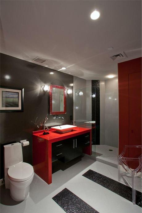 Modern Vanity with a Lacquered red finish