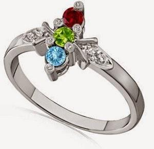 Diamond Accent Three Stone Ring With Aquamarine, Peridot, Garnet in 14k White Gold